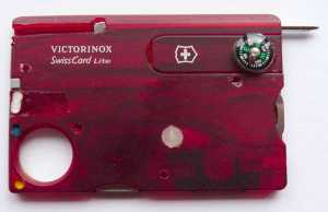 The modified Victorinox Swisscard in writing position